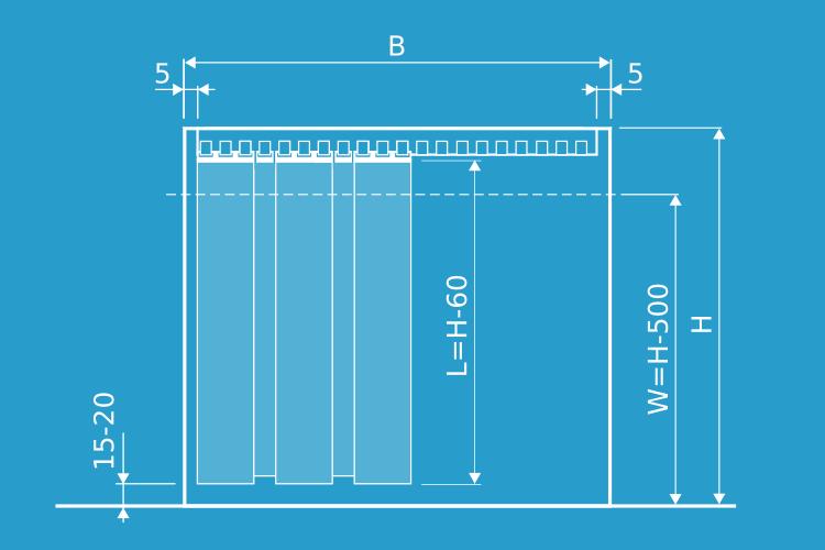 wymiary kurtyny do mocowania naściennego (do nadproża), wariant montażu z zastosowaniem zawiesi grzebieniowych