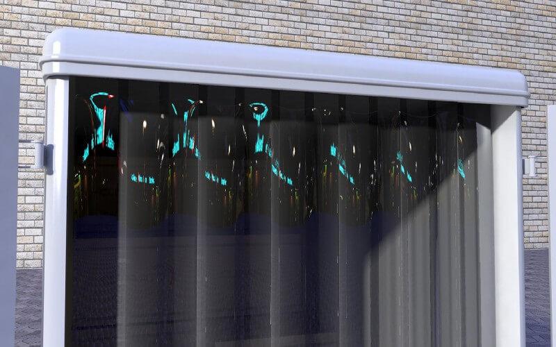 Kurtyna paskowa wykonana z folii polar odpornej na dzialanie niskich temperatur