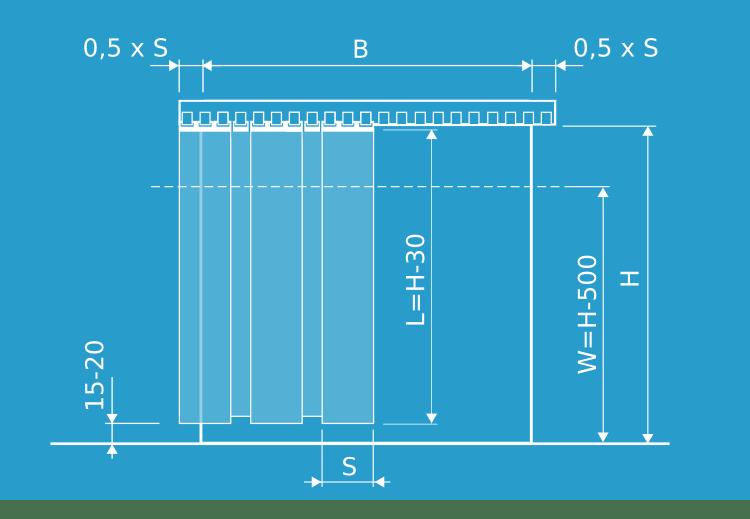wymiary kurtyny do mocowania pod nadprożem przy mocowaniu zawiesiami grzebieniowymi