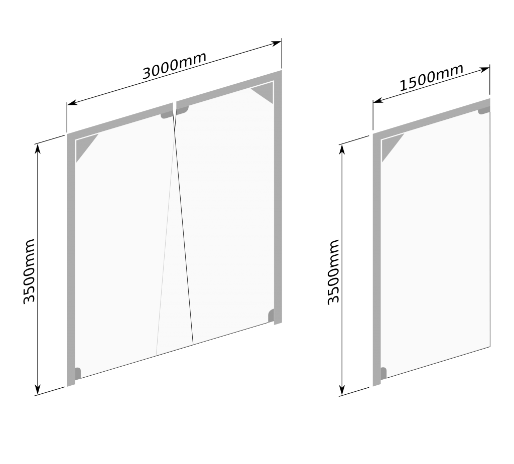 Maksymalne wymiary bram wahadłowych - schemat rysunkowy.