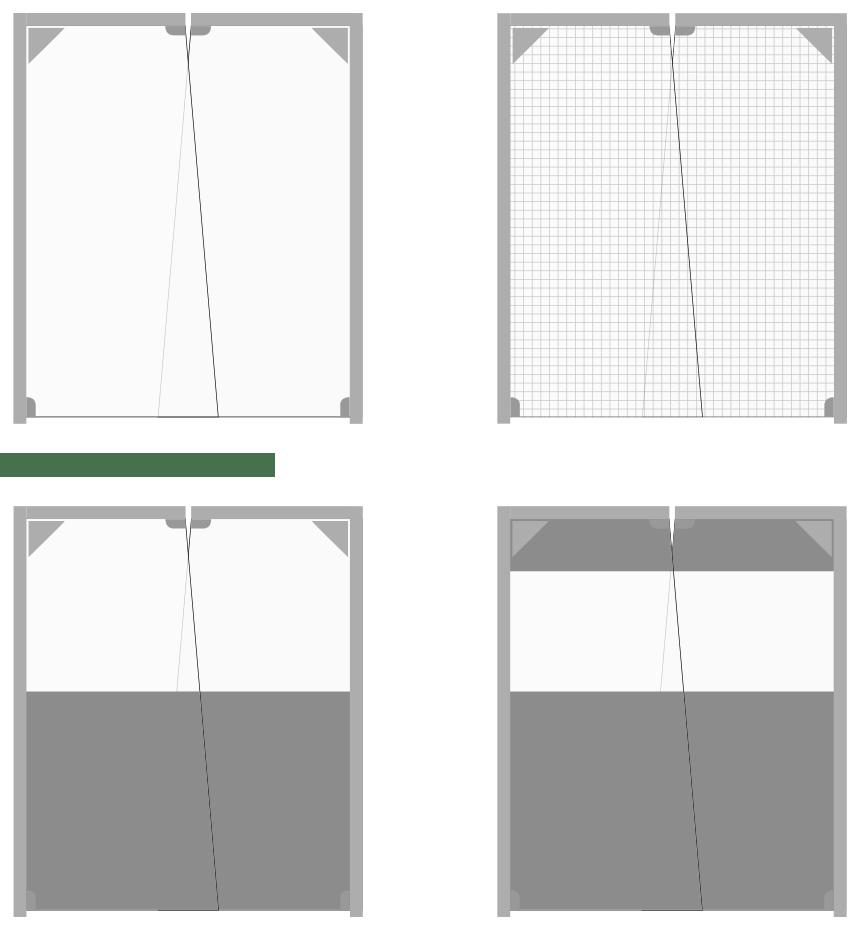 Na rysunku przedstawiono cztery sposoby wykonania płata bram wahadłowych