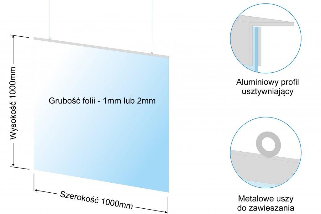 Osłona antywirusowa ma wymiary 1000mm x 1000mm. Może mieć inne wymiary, proszę o kontakt w celu ustalenia szczegółów.