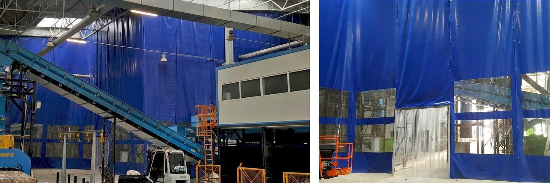 Kotary plandekowe do oddzielania pomieszczeń - na zdjęciu w kolorze niebieskim, z oknami