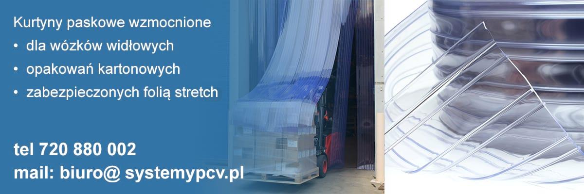 Kurtyny paskowe PCV dla wózków widłowych wykonane z folii żebrowanej - wzmocnionej